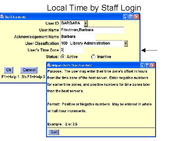 Local Time by Staff Login